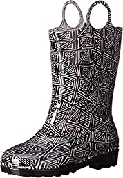 TOMS Kids Unisex Rain Boot (Infant/Toddler/Little Kid) Black Geo PVC Boot 10 Toddler M