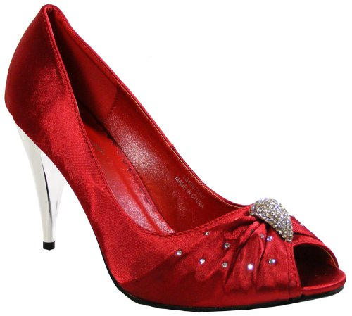 New Womens Red Wine Satin Mid Heels Wedding Bridal Court Shoes Size 3 4 5 6 7 8