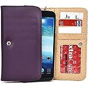 Dark Purple Phone Wallet Case For Samsung Galaxy On7, J7, A8, Mega 2, Mega 5.8 6.3 Smartphone Phablet