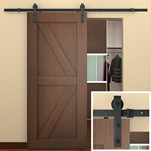 SMARTSTANDARD 8 FT Sliding Barn Door Hardware (Black) (J Shape Hangers) (1 x 8 foot Rail) (8 Barn Door Hardware compare prices)