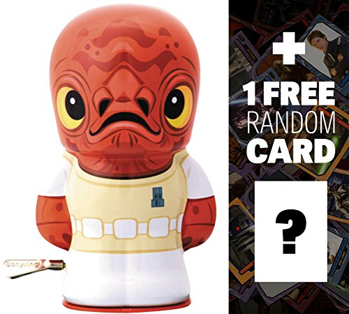 "Admiral Ackbar: ~4"" BeBots x Star Wars Tin Wind-Up Figure + 1 FREE Official Star Wars Trading Card Bundle"