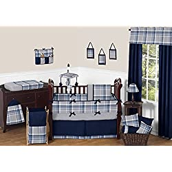 Sweet Jojo Designs Rustic Designer Navy Blue and Gray Boys Plaid Baby Bedding 9 Piece Crib Set