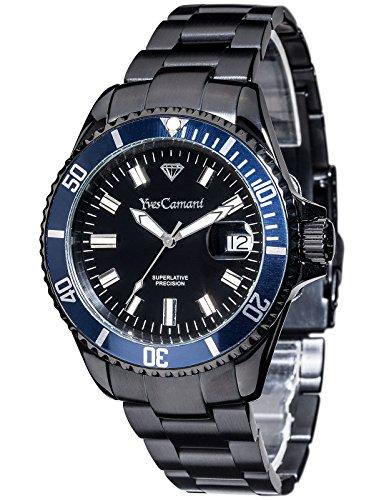 Yves Camani - YC1065-G - Montre Mixte - Quartz Analogique - Aiguilles lumineuses - Bracelet Acier Inoxydable Noir