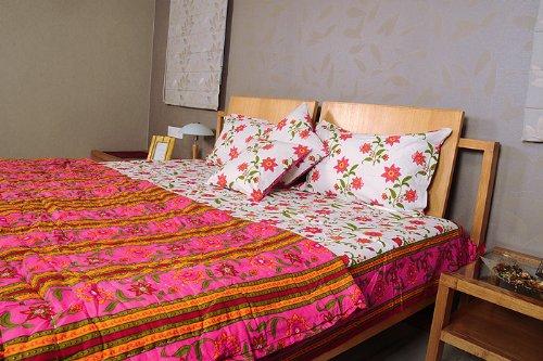 Imagen 3 de Hoja Traditional Floral Design Bed conjunto con cojines a juego Cubra Una colcha y almohada Casos Tamaño 90 x 108 pulgadas