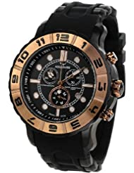 Men's Black Rugged Quartz Chronograph Black Dial Rubber Rose Gold Tone Bezel
