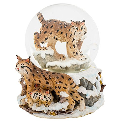 Endangered Bobcat Family 100MM Water Globe Plays Tune Yesterday Once More