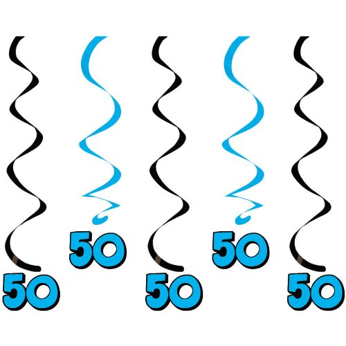 50th Birthday Hanging Swirls (5ct)