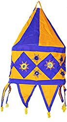 Sanskrite India Hanging Appliqued Handmade Foldable Square Cloth Lantern Light Diwali Home Dcor