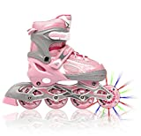 Picture Of <h1>Adjustable Inline Skates for Girls, Featuring Illuminating Front Wheels, Awesome-looking, Comfortable &amp; Durable Rollerblades, Perfect for Indoors &amp; Outdoors, Unconditional 60-day Money Back Guarantee</h1>