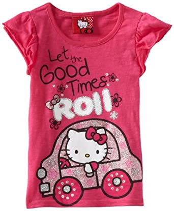 Hello Kitty Girls 2-6X HK Good Time Roll Tee, Pink, 5