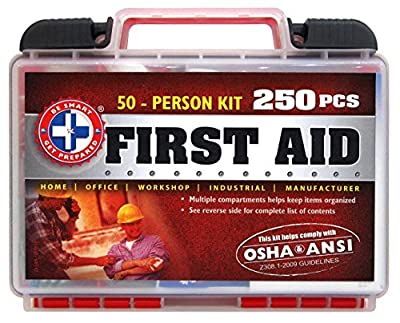 """Be Smart Get Prepared 250 Piece First Aid Kit, Exceeds OSHA ANSI Standards for 50 People - Office, Home, Car, School, Emergency, Survival, Camping, Hunting, and Sports "" by Be Smart Get Prepared"