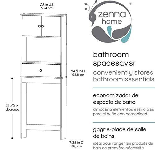 Zenna home 9401w drop door bathroom spacesaver white for Chapter bathroom space saver white assembly instructions