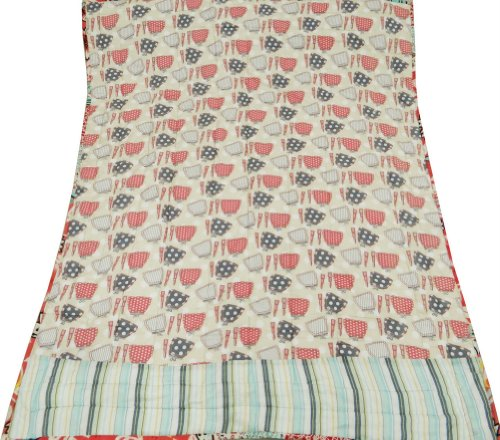 """Beige Crib Size Baby Quilt Handcrafted Cotton Patchwork Decorative Reversible Bedspread / Gudri India 48"""" X 38"""" Inches Free Shipping"""