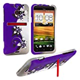 SODIAL(TM) Cell Phone Case Cover Skin for HTC Evo 4G LTE, Sprint - Purple / Silver Vines
