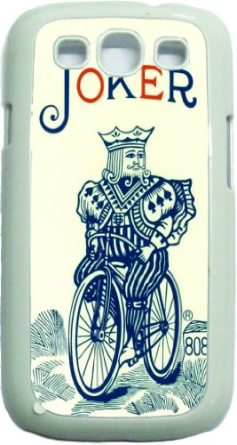 Joker Playing Card - Joker With Binoculars - White Rubber Case With Flap - For The Samsung® Galaxy S3 I9300 Case