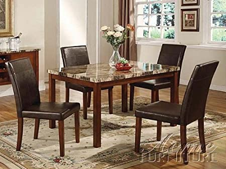 5 pc Portland faux brown marble dining table set with faux leather upholstered chairs