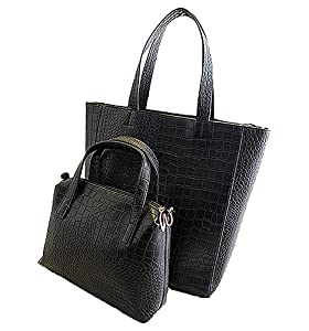 Mixeshop women's Fashion Jet Set Signature Large Tote Handbag black