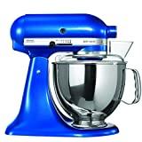 KitchenAid Artisan 5KSM150PSDEB 10 Speed 4.8 Litre (5Qt) 300 Watt Tilt Head Stand Mixer with Flat Beater, Dough Hook, Whisk, Stainless Steel Bowl & Pouring Shield (Electric Blue)