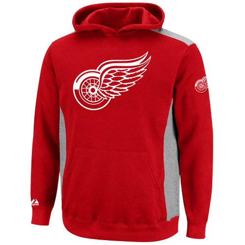 Nhl Majestic Detroit Red Wings Youth Hat Trick Pullover Hoodie - Red/Ash (Medium)