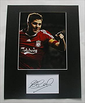 STEVEN GERRARD Photo/Signed Index Card Matted Display Auto