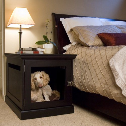 Dog House Kennels: DenHaus Medium Espresso TownHaus Hideaway Dog House with Nightstand End Table from DenHaus