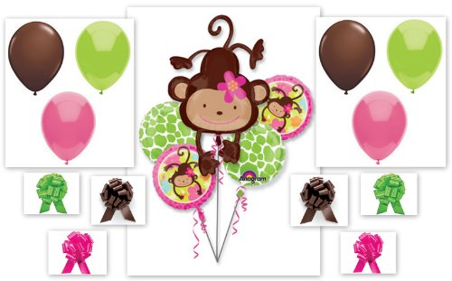 Girl Birthday Baby Shower Balloon Bouquet 17 Piece Complete Party Kit
