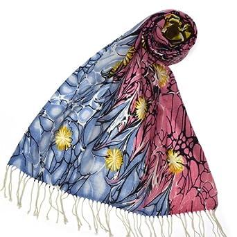Split color Flower Art Wool Pashmina Scarf