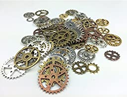 Efivs Arts 80pcs Antiqued Gears Wheels Skeleton Steampunk Clock Watch Gears Cog Wheel Pendant Charms, Assorted Colors for DIY Crafts, Jewelry Making, Steampunk Charms