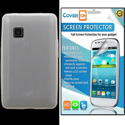 Coveron® Lg 840G Silicone Rubber Soft Skin Case Cover Bundle With Clear Anti-Glare Lcd Screen Protector - Clear