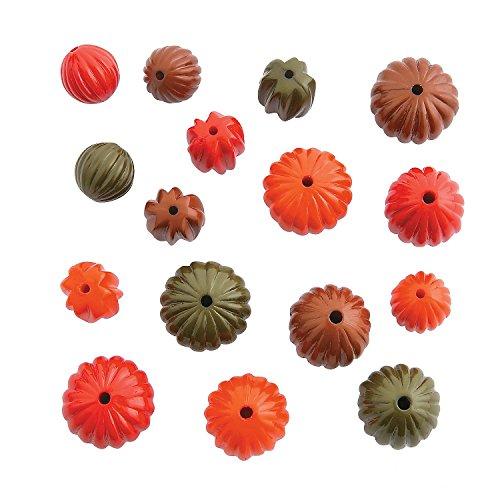 Plastic Pumpkin Bead Assortment-36 Pieces