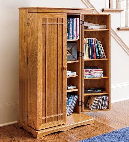 Finished Wood Media Storage Cabinet in Oak