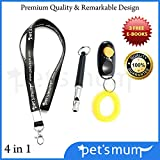 Premium Dog Whistle to Stop Barking & Dog Training Clicker By Pet's Mum   Easy Safe Pet Training & Repellent Kit   Free Lanyard - Dog Training E-book  100% Money Back Guarantee with Lifetime Warranty