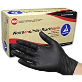 Dynarex Black Nitrile Exam Gloves, Large, 100 Count