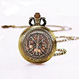 Viking Jewelry Vegvisir Rune Pocket Watch Necklace Occult Pendant (6)