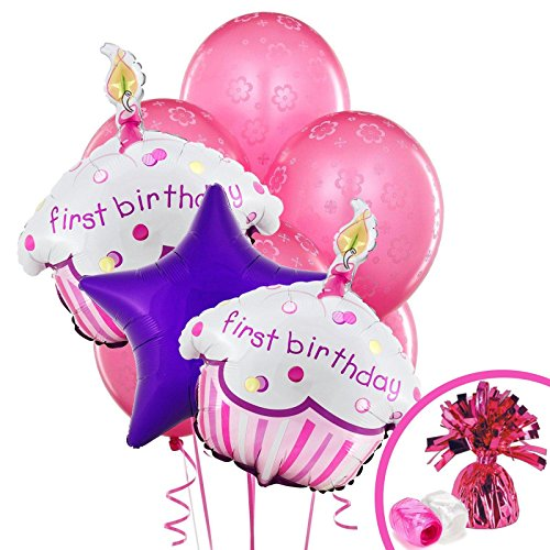 Girls Lil' Cupcake 1st Birthday Balloon Bouquet