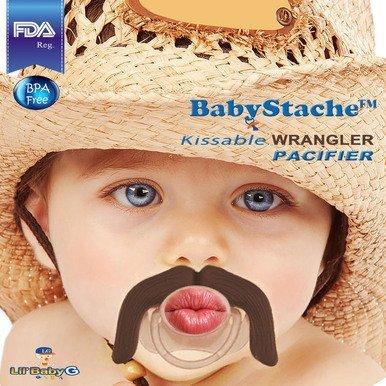 BabyStache® Kissable Baby Pacifier. Kissable Wrangler Brown