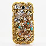3D Luxury Swarovski Crystal Sparkle Diamond Bling Gold Peace Flowers Design Case Cover for Samsung Galaxy S4 S 4 IV i9500 fits Verizon, AT&T, T-mobile, Sprint and other Carriers (Handcrafted by BlingAngels®)
