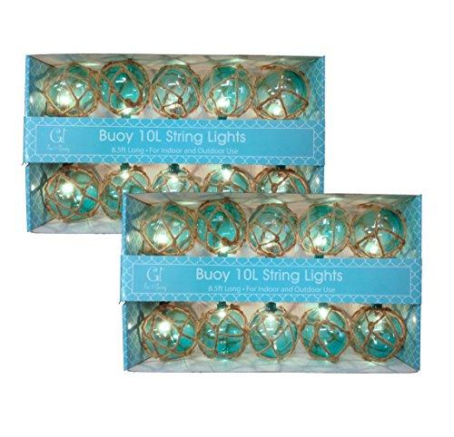 Aqua-Nautical-Buoy-Globe-String-Lights-Two-Sets-of-10