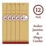 Panchratan Perfumed Charcoal Incense Sticks ( Pack Of 12, 23cms, Amber, Jasmine And Mogra Fragrance )