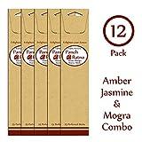 Panchratan Perfumed Charcoal Incense Sticks ( Pack Of 12, 23cms, Amber, Jasmine And Mogra Fragrance )