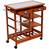 "HomCom 26"" Portable Rolling Tile Top Kitchen Trolley Cart w/ 6 Bottle Wine Rack"