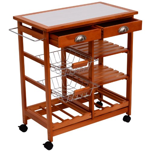 HomCom 29-Inch Portable Rolling Tile Top Kitchen Trolley Cart with 6-Bottle Wine Rack (Portable Kitchen Cart Island compare prices)