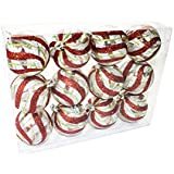 Queens Of Christmas WL-ORN-12PK-CL-GSR 12 Pack Ball Ornament With Red, Silver And Green Swirl Design, Clear