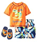 Wippette Baby Boys Infant Turtle Surf Rash Guard Swim Short Set with Flip Flops