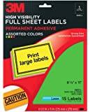3M High Visibility Full Sheet Labels for  Laser Printers, Assorted Neon, 8 1/2 x 11 Inches, 15 Sheets per Pack (3600-L)