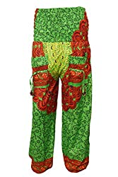 Indiatrendzs Pants Women's Harem Pants Green Floral Peacock Prints Trouser