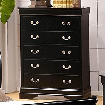 Bedroom Chest Louis Phillipe Style in Black Finish