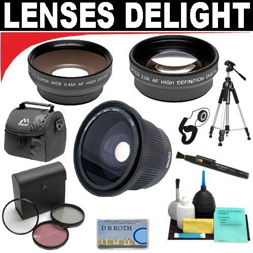 .. .42X Hd Super Wide Angle Fisheye Lens + 2X Digital Telephoto Professional Series Lens + 0.5X Digital Wide Angle Macro Professional Series Lens + 3 Piece Digital Camera Filter Kit + 6-Piece Deluxe Cleaning Kit + Full Size Tripod + Deluxe Db Roth Accesso