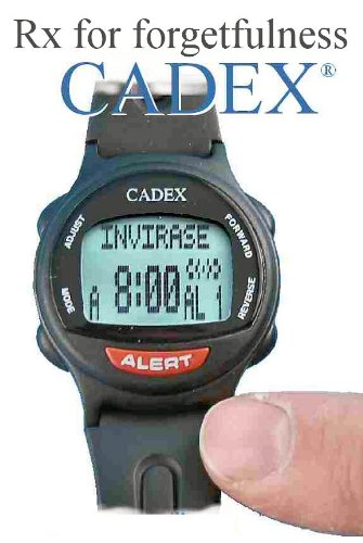12 alarm e pill medication reminder watch cadex alarm watch with medical alert identification for Cadex watches