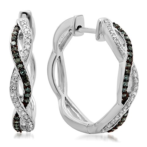0.25 Carat (ctw) 14K White Gold Blue & White Diamond Ladies Twisted Swirl Hoop Earrings 1/4 CT